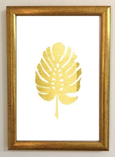 Lyn Home & Decor Gold Yaprak Tablo 20x30 Cm Renkli